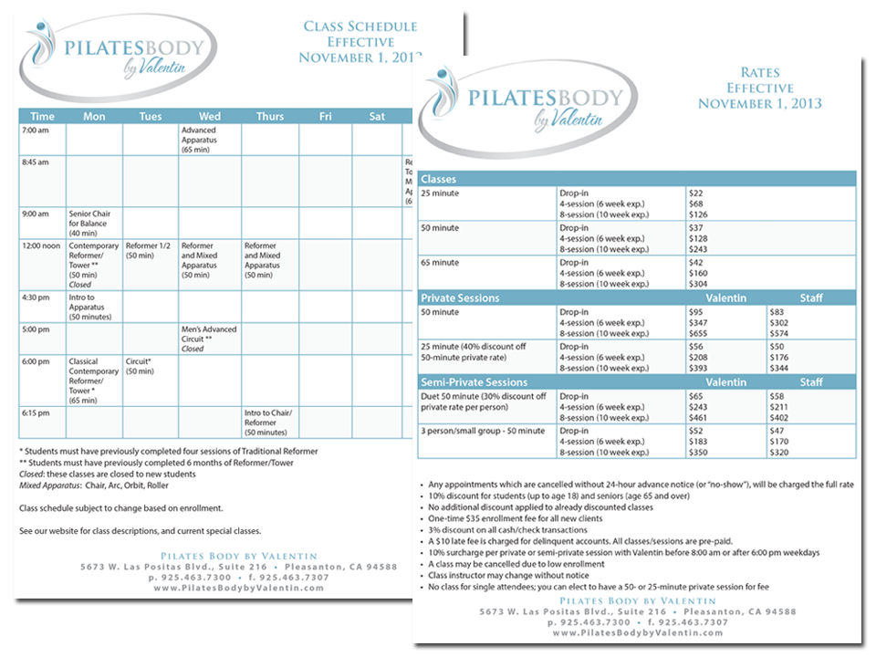 Pilates Body by Valentin Schedule